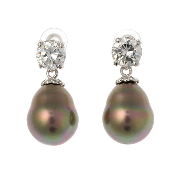7mm cz 12x 15mm coffee baroque pearl earring - E57-712RH