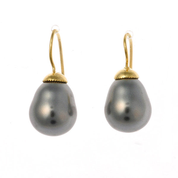 Grey baroque pearl on french hook earring - E-212GP