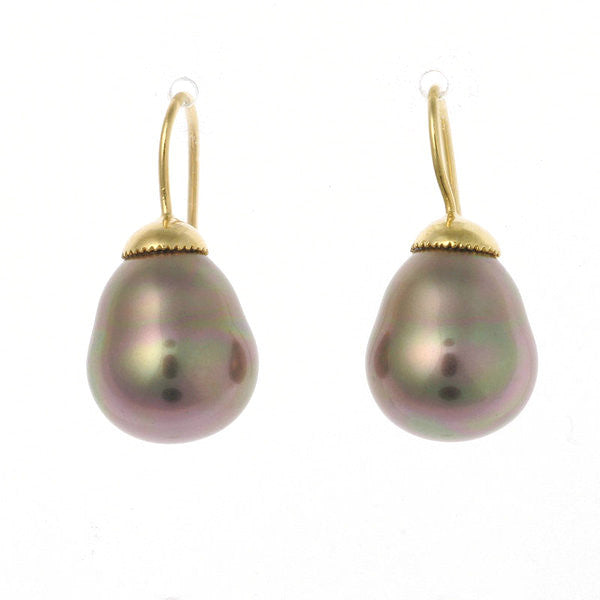 coffee baroque pearl on french hook earring - E-712GP