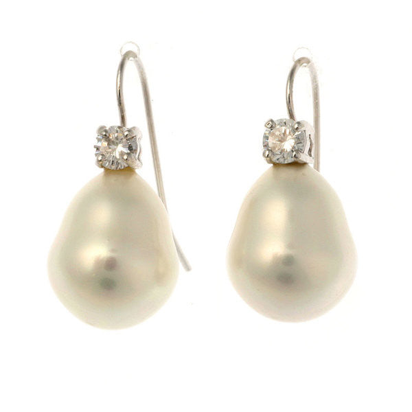 CZ & 12 x 15mm white baroque pearl on rhodium french hook earring - E31-701RH