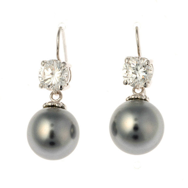7mm cz & 12mm grey pearl on french hook earring - E200-212RH