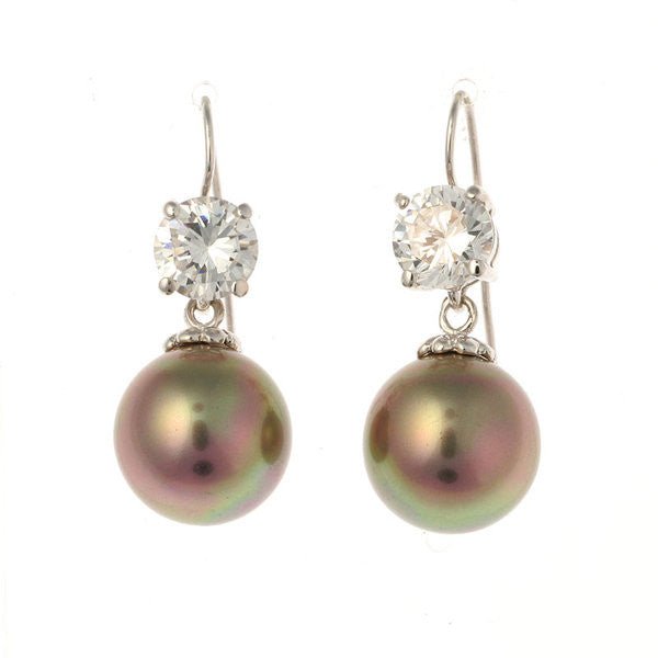7mm cz & 12mm coffee pearl on french hook earring - E200-712RH