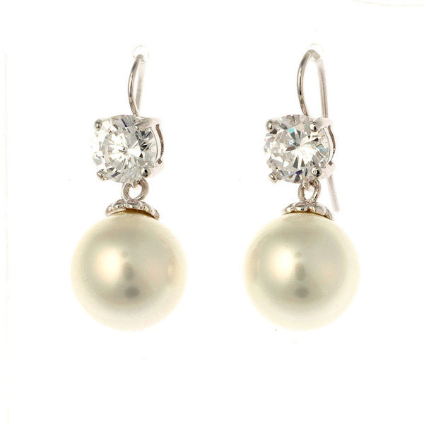 7mm cz & 12mm white pearl on french hook earring - E200-701RH