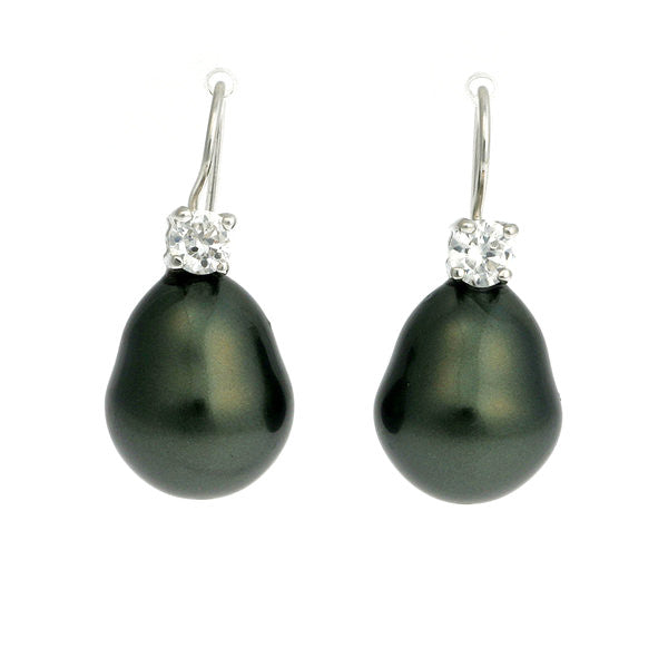 CZ & 12 x 15mm black baroque pearl on french hook earring - E31-608RH