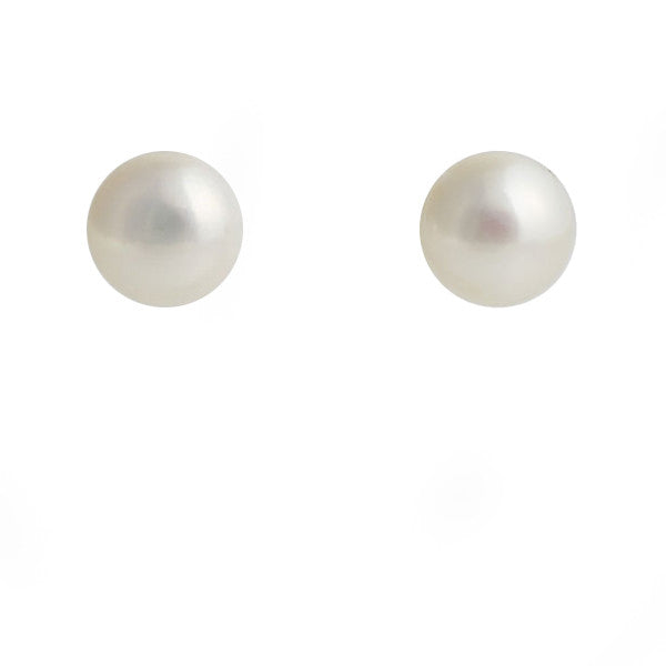 8mm freshwater button pearl studs - E114-10W