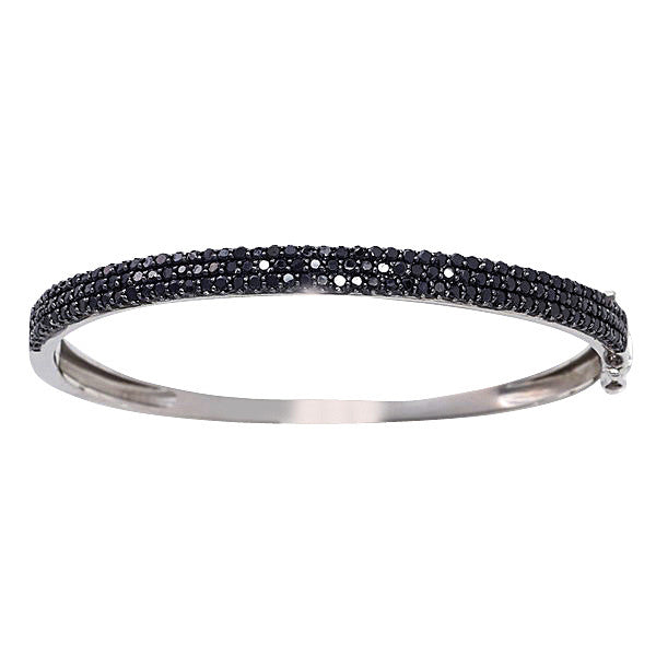 925 sterling silver, rhodium plate 3 row black pave cubic zirconia bangle - B439-BCZ