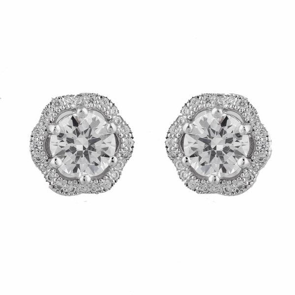 925 sterling silver, rhodium plate, cubic zirconia micro pave flower stud earring - E20938