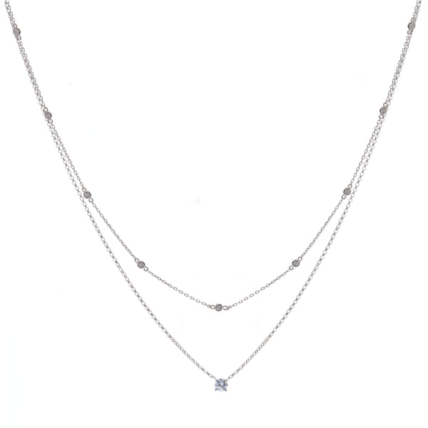 N125 - Rhodium double silver cz necklace
