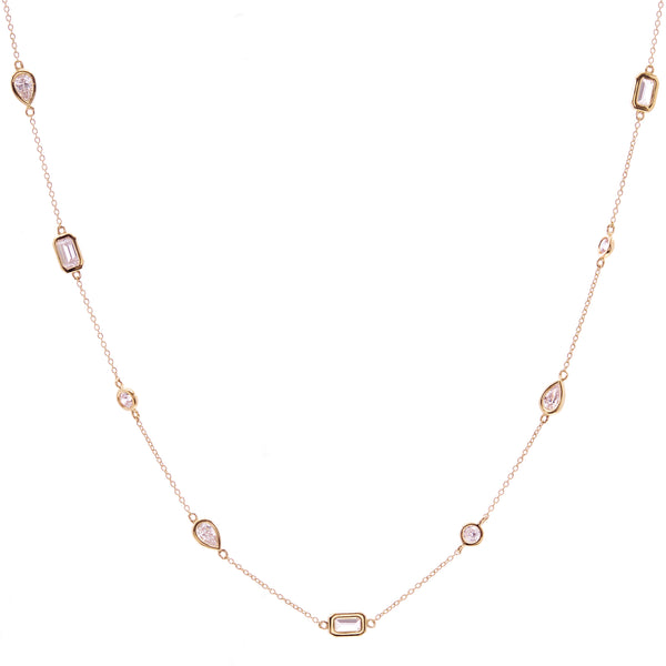 N1496-GP - Multi shape gold necklace