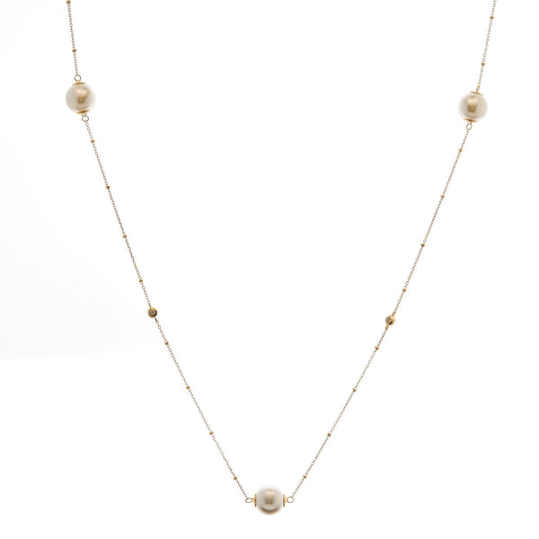 90cm gold plate cubic zirconia & pearl necklace - N2017-YG