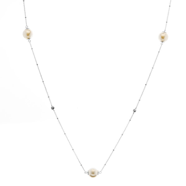 90cm 925 sterling silver, rhodium plate cubic zirconia & pearl necklace - N2017-RH