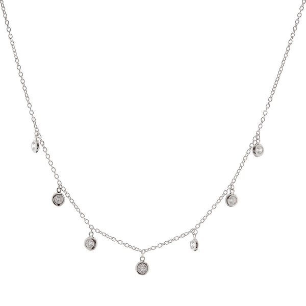 925 sterling silver, rhodium plate cubic zirconia bezel drip necklace - N216-RH