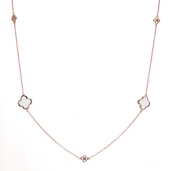Rose gold cubic zirconia & white ceramic flower 90cm necklace- N234-WRG