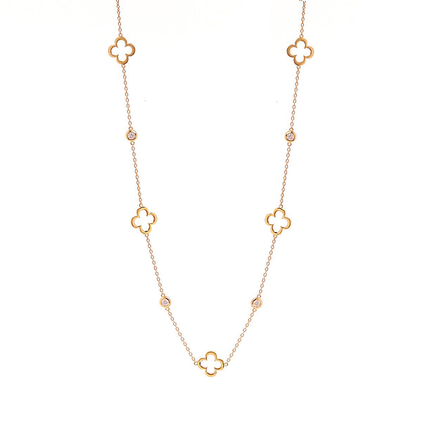 Yellow gold flower & cubic zirconia necklace - N24-GP