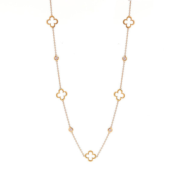 90cm gold plate flower & cubic zirconia necklace - N237-GP