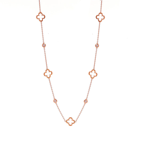 Rose gold flower & cubic zirconia necklace - N24-RG