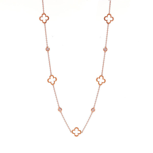 90cm rose gold plate flower & cubic zirconia necklace - N237-RG