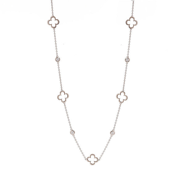 90cm 925 sterling silver, rhodium plate flower & cubic zirconia necklace - N237-RH