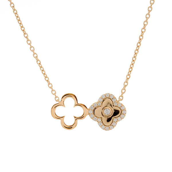 Gold plate solid & cubic zirconia double flower necklace - N313-YG