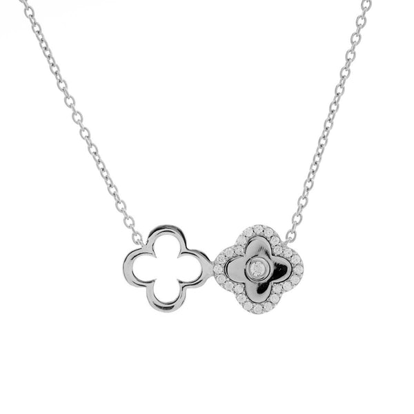925 sterling silver, rhodium plate solid & cubic zirconia double flower necklace - N313-RH