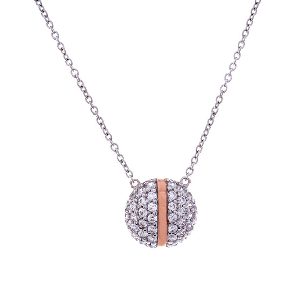 Rose gold & cubic zirconia round stripe necklace- N358-RG