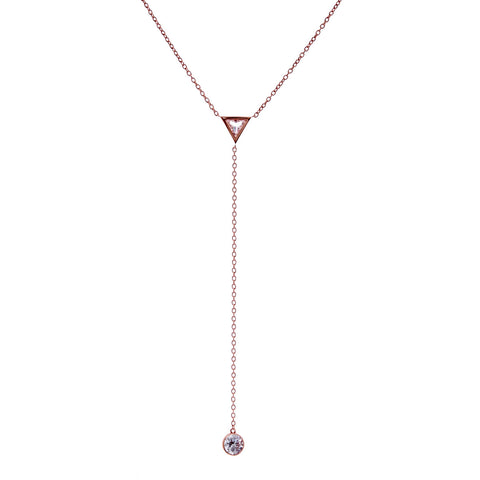Rose gold & cubic zirconia triange drop necklace- N365-RG
