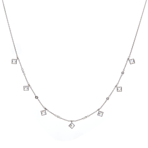 N41-RH - Rhodium cz necklace