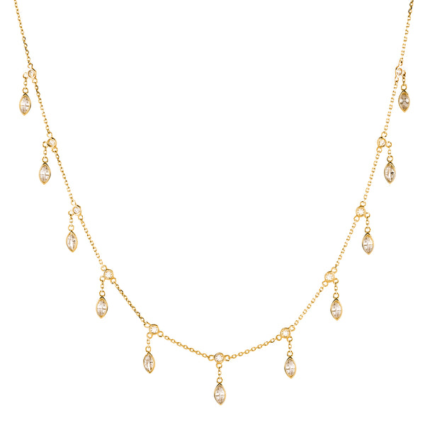 N44-GP - Gold  teardrop hanging necklace