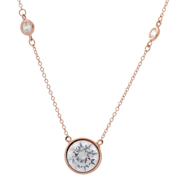 Rose gold plate bezel cubic zirconia chain with 8mm cubic zirconia centre stone necklace - N501-RG