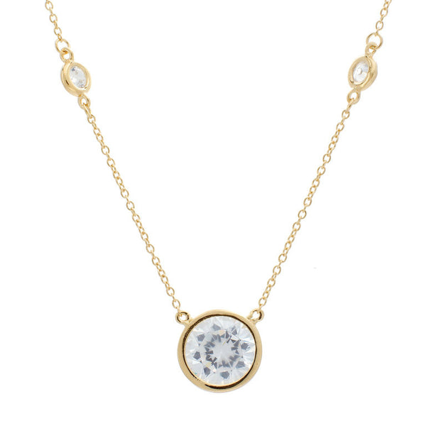 Yellow gold plate bezel cubic zirconia chain with 8m cubic zirconia centre stone necklace - N501-YG