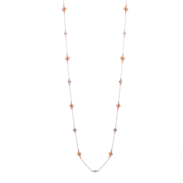 "36"" rose gold plate cubic zirconia clover necklace - N503-RG"