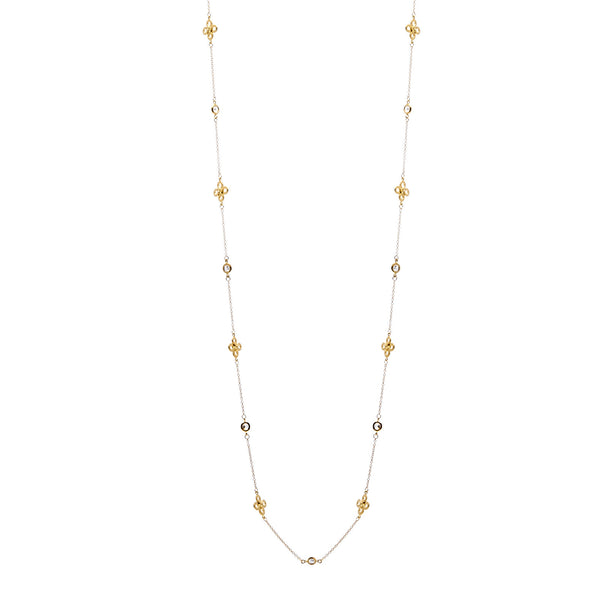 "36"" yellow gold plate cubic zirconia clover necklace - N503-YG"