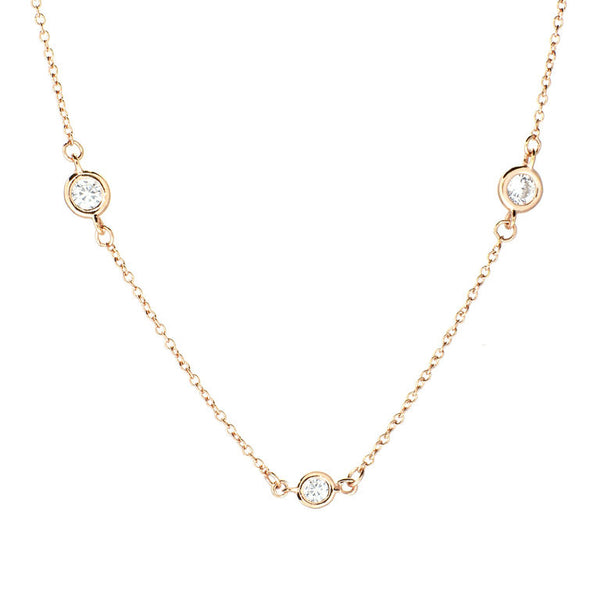 "36"" yellow gold plate bezel cubic zirconia chain necklace - N511-YG"