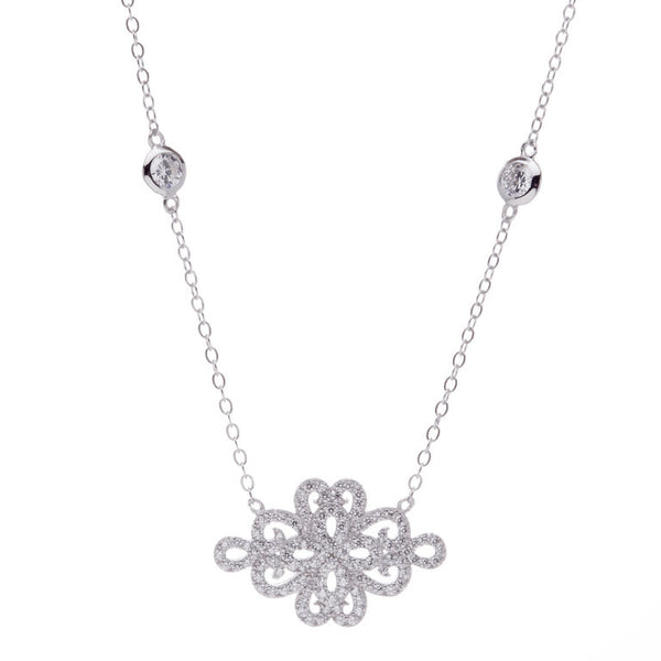 925 sterling silver, rhodium plate filagree & cubic zirconia necklace - N537