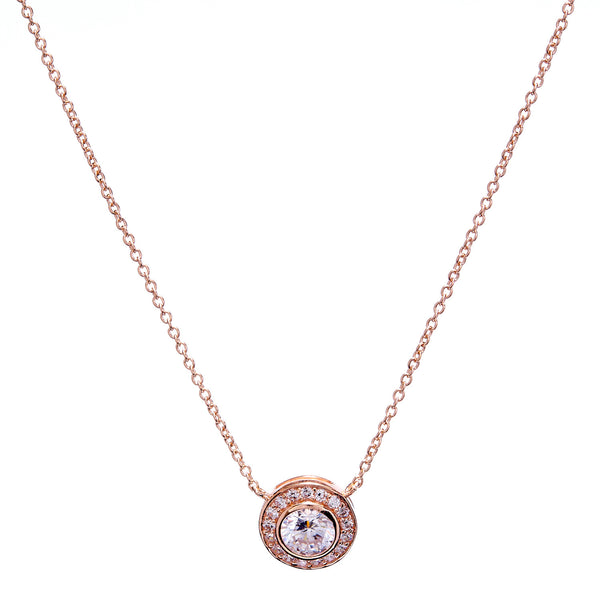 Rose gold cubic zirconia micro pave round pendant necklace- N56-RG