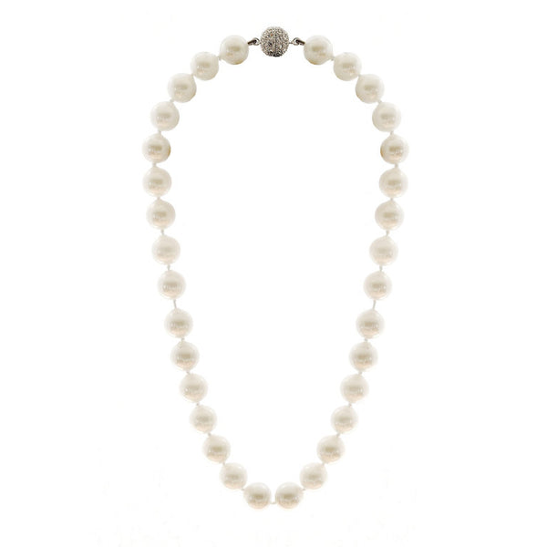 12mm white pearl necklace with cubic zirconia clasp - N701-12