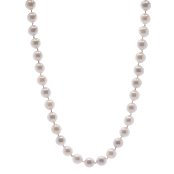42cm, 10mm round white pearl necklace with silver cz ball clasp - N701-SR42