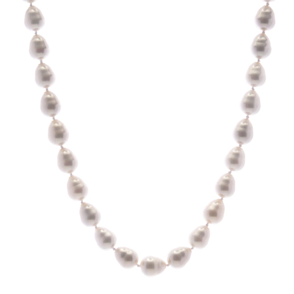 10x12mm white baroque pearl necklace with silver cz ball clasp - N701-SBAR