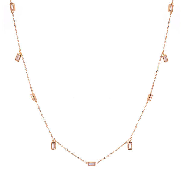 N731-GP - Gold baguette cz necklace