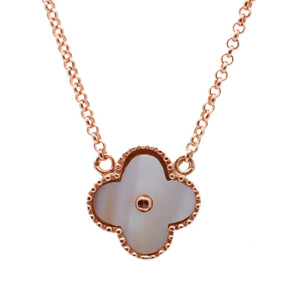 Rose gold & white mother of pearl flower necklace - N763-RG