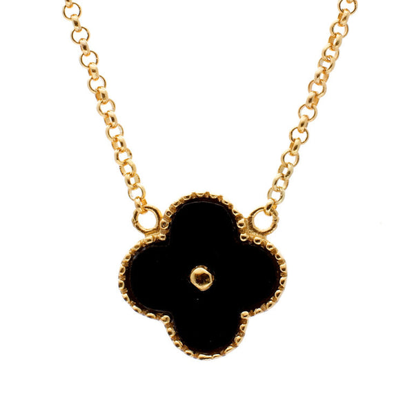 Yellow gold plate & black mother of pearl flower necklace - N763-YG