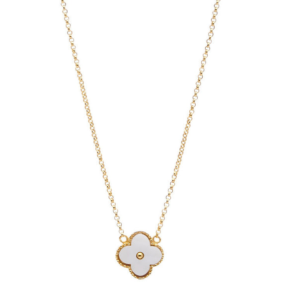 Yellow gold plate & white mother of pearl flower necklace - N7631-YG