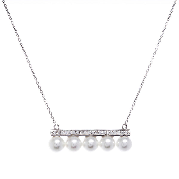Silver and cubic zirconia pearl bar necklace- N782