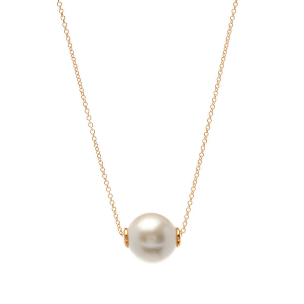 12mm white pearl on gold chain - N918-GP