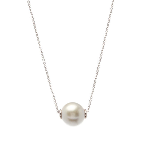 White pearl on 925 sterling silver, rhodium plate chain - N918-RH