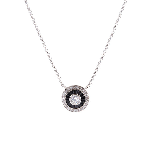 N9380 - Black & clear cz pendant on fine chain