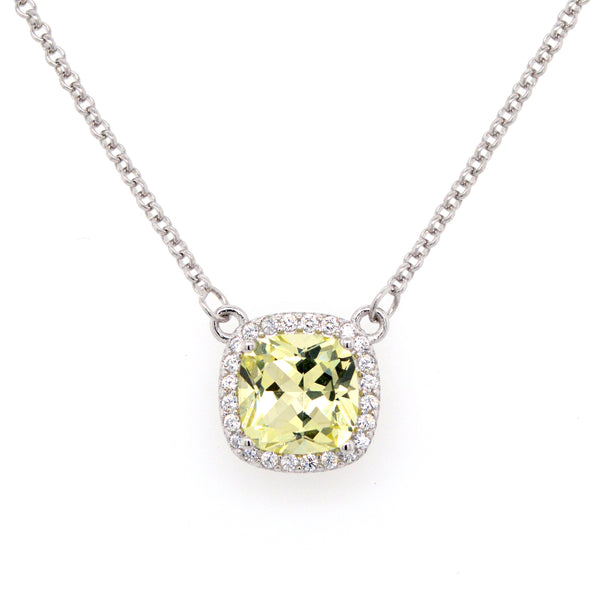 N9382-L - Lemon quartz cz necklace