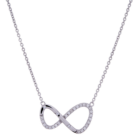 Silver & cubic zirconia infinity necklace- N999-RH
