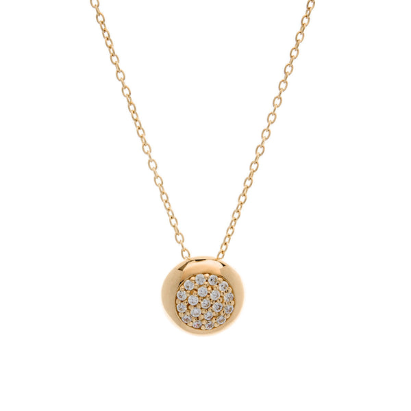 Gold plate cubic zirconia round paved pendant on fine chain - P1024-YG