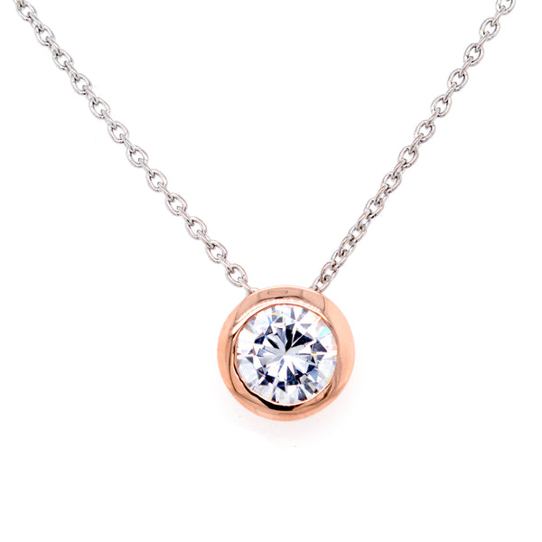 P140-RG - Rose gold cz pendant on fine chain